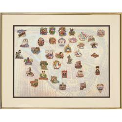 Custom Framed Disneyland full set of 37 attraction pins.