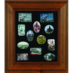Framed pin set of various Disneyland pictures