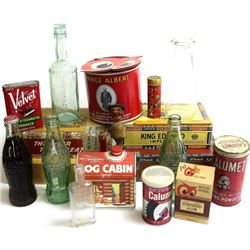 Collection of misc. vintage tins, bottles and