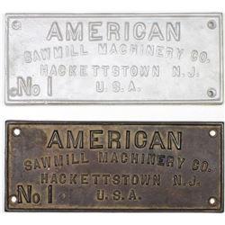 "Original cast iron plaque ""American Sawmill"