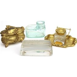 Collection of 4 includes antique inkwell