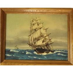 Collection of 3 includes framed sailboat