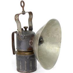 Large carbide mining lantern marked Just Rite