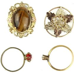 Collection of 4 includes tiger eye brooch 12K