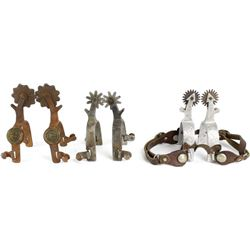 Collection of 3 pair spurs includes