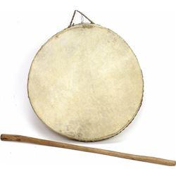 """Vintage rawhide drum 12"""" diameter,"""