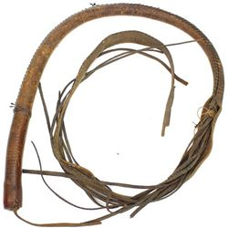 "Early leather bullwhip 70"" long,"