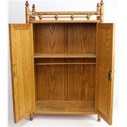 Victorian oak medicine cabinet stick and ball