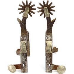 Crockett stamped spurs single mounted scroll
