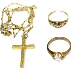 Collection of 3 includes gold cross and chain,