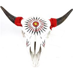 Hand painted buffalo skull by regional