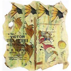 Ledger style painting on flour sack muslin