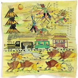Ledger style painting on muslin cloth