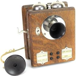 Antique oak wall phone from Homestake