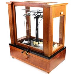 Mahogany cased and glass beam scale
