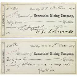 Collection of 2 1878 Homestake Mining Co.