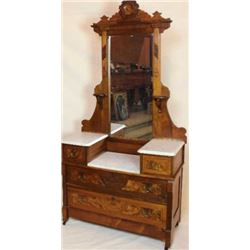Beautiful walnut Victorian marble top dresser