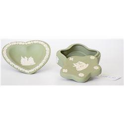 Green Wedgwood Jasperware Jewelry Box and Decorati