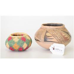 Lot of Native American Apache Hand Made Basket and