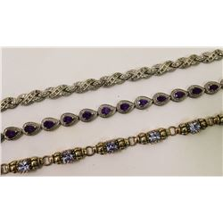 Lot of 3 Sterling Silver Fashion Tennis Bracelets