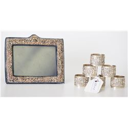 Sterling Silver Repouse Photo Picture Frame and 6
