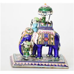 Sterling Silver Enamel Figurine of Maharaja on Ele