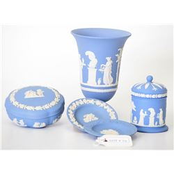 Lot of 5 Blue Wedgewood Jasperware Pieces