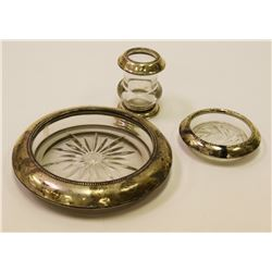 Sterling Silver and Glass Ash Tray, Salt Dish and