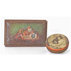 Set of 2 Antique Tin Lidded Boxwes