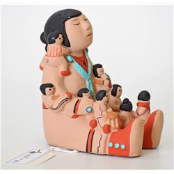 Native American STORYTELLER figurine with 9 Childr