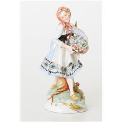 "7.5"" Andrea By Sadek Girl With Flowers Figurine"