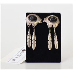 Native American Sterling Silver Jade Stud Earrings