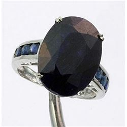 Very Fancy 9.24 ctw. Blue Sapphire Ring in Sterling Silver