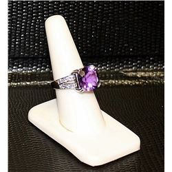 Ladys Very Fancy 18 kt White Gold over Sterling Silver Amethyst & Diamond Ring