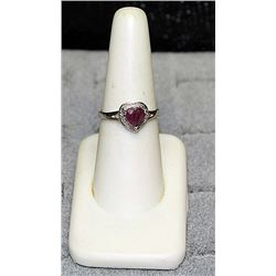 "Ladys Very Fancy 18 kt White Gold over Sterling Silver ""Heart Shape"" Pigeon Blood Ruby & Diamond Rin"