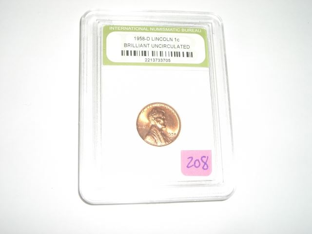 1958-D *BRILLIANT UNCIRCULATED* LINCOLN WHEAT PENNY *CERTIFIED BY  INTERNATIONAL NUMISMATIC BUREAU* S