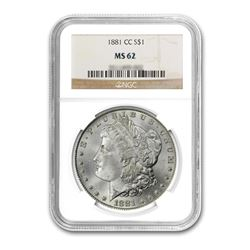1881-CC $1 Morgan Silver Dollar - NGC MS62