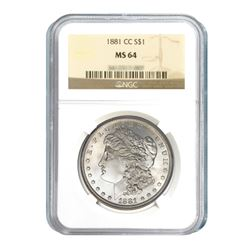 1881-CC $1 Morgan Silver Dollar - NGC MS64