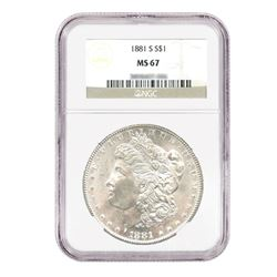 1881-S $1 Morgan Silver Dollar - NGC MS67