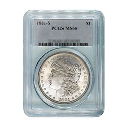 1881-S $1 Morgan Silver Dollar - PCGS MS65