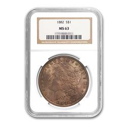 1882 $1 Morgan Silver Dollar - NGC MS63