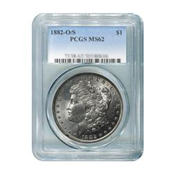 1882-O Over S $1 Morgan Silver Dollar - PCGS MS62