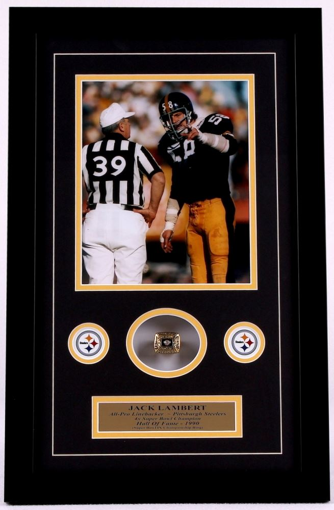 2c9ac80440f Image 1 : Jack Lambert Steelers 14x22 Custom Framed Super Bowl IX  Championship Ring Display ...