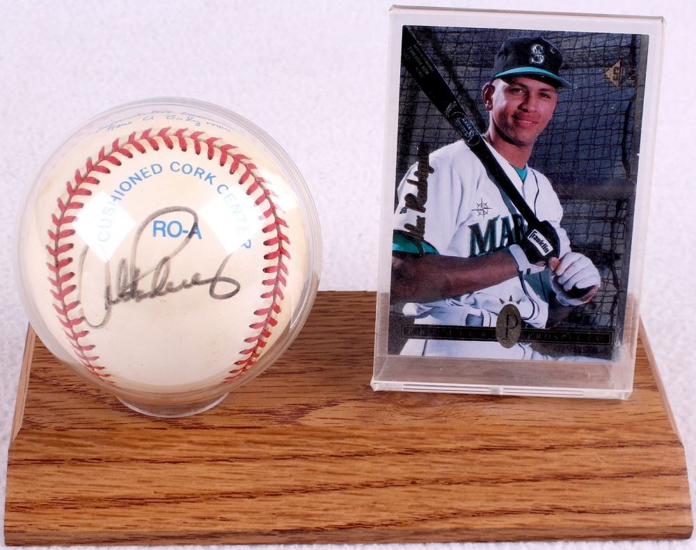 Alex Rodriguez Signed Oal Baseball With 1994 Upper Deck