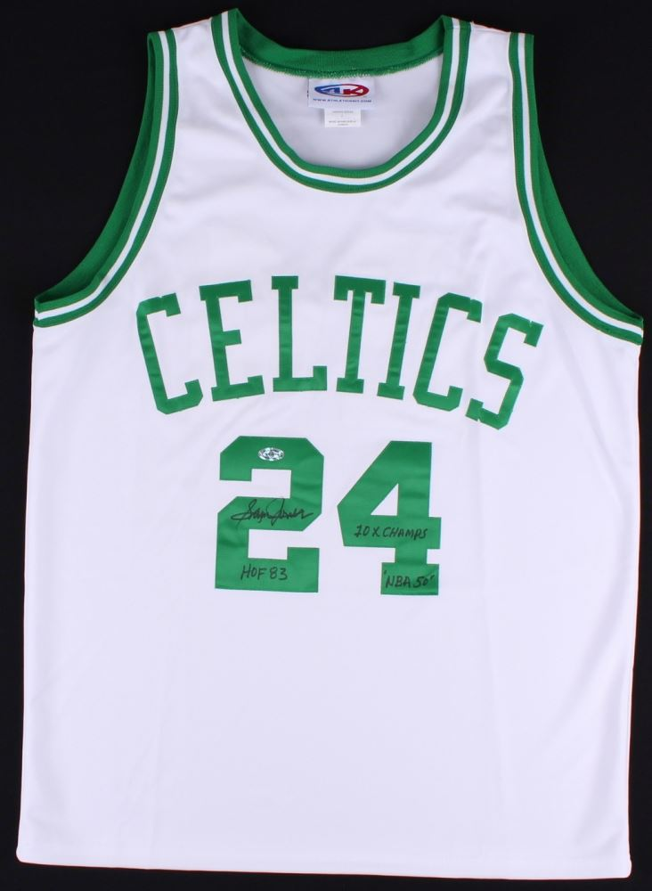 new york 435c5 c1f97 Sam Jones Signed Celtics Jersey with Career Inscriptions ...