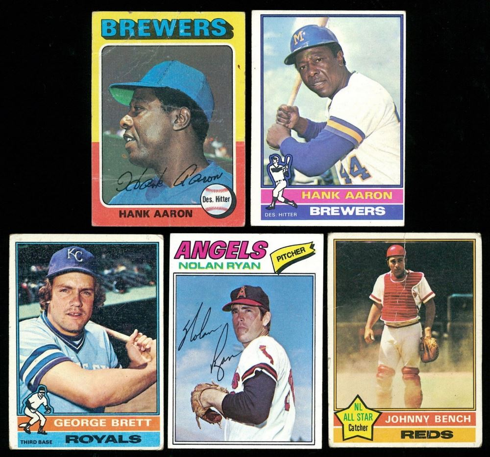 Lot Of 5 Baseball Cards With 1976 Topps 550 Hank Aaron