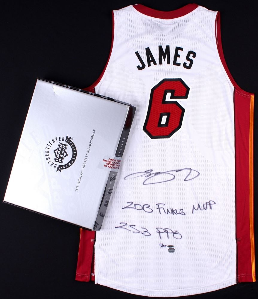 huge discount 27378 f4add LeBron James Signed Miami Heat Authentic On-Court Jersey ...