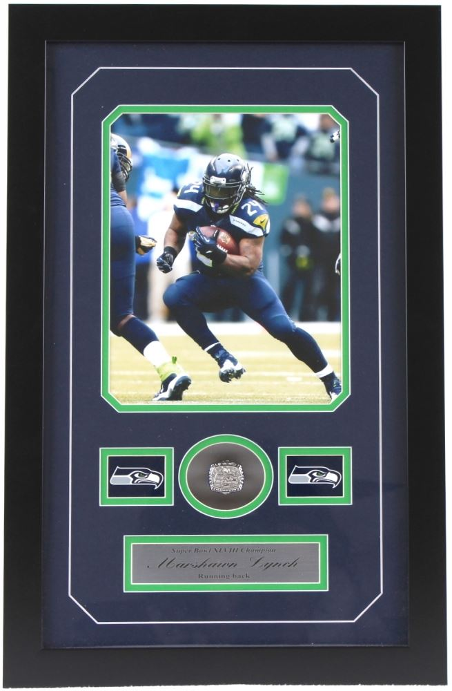 newest 5f669 54316 Marshawn Lynch Seahawks 14x22 Custom Framed Super ...