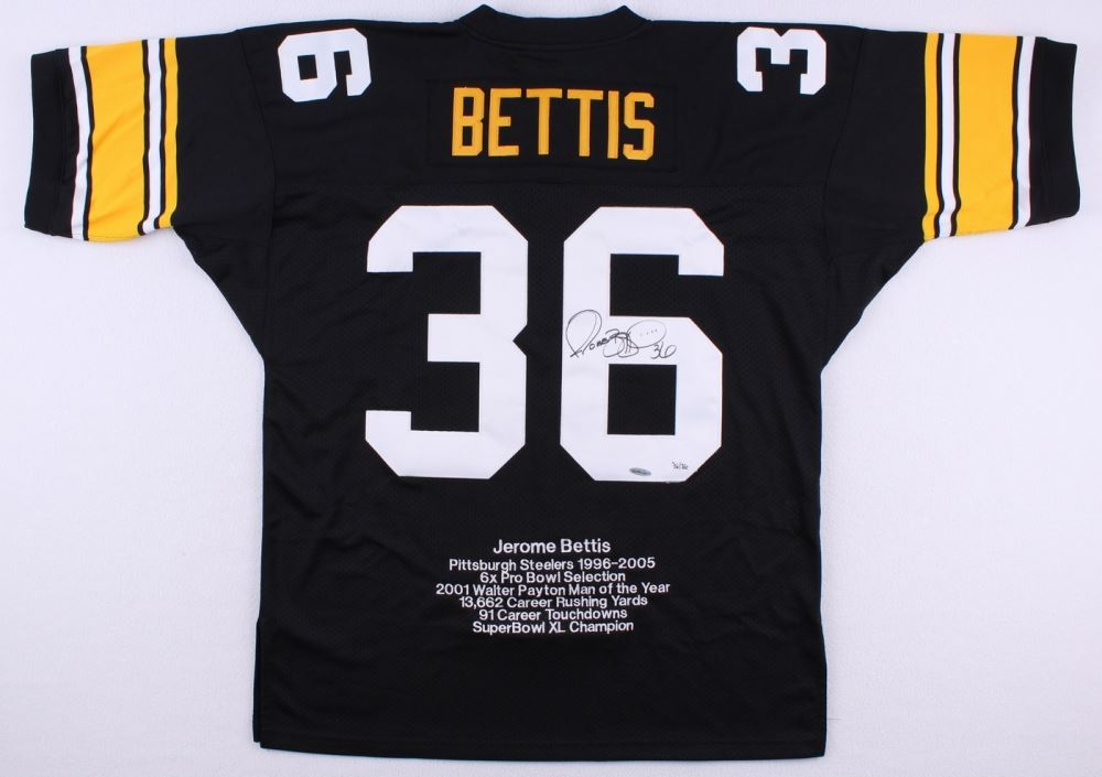 067732af Image 1 : Jerome Bettis Signed Authentic Mitchell & Ness Limited Edition  Steelers Career Highlight Stat ...