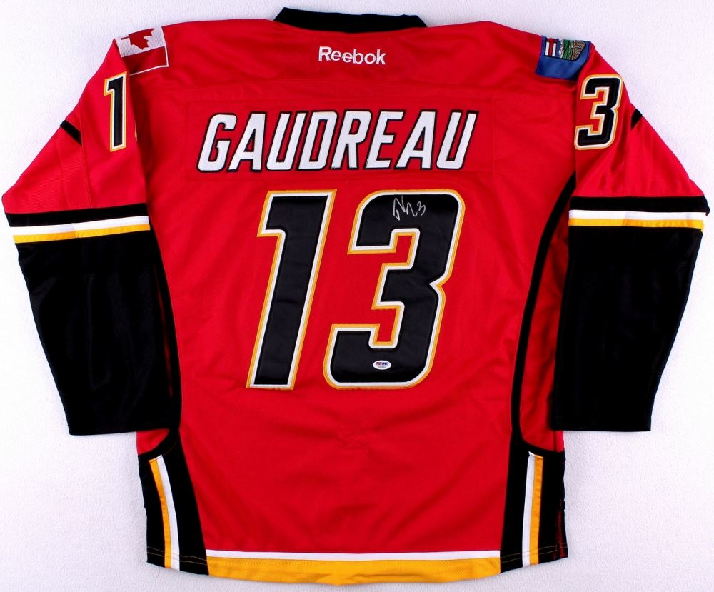 outlet store a68cd 14cec Johnny Gaudreau Signed Flames Jersey (PSA COA)